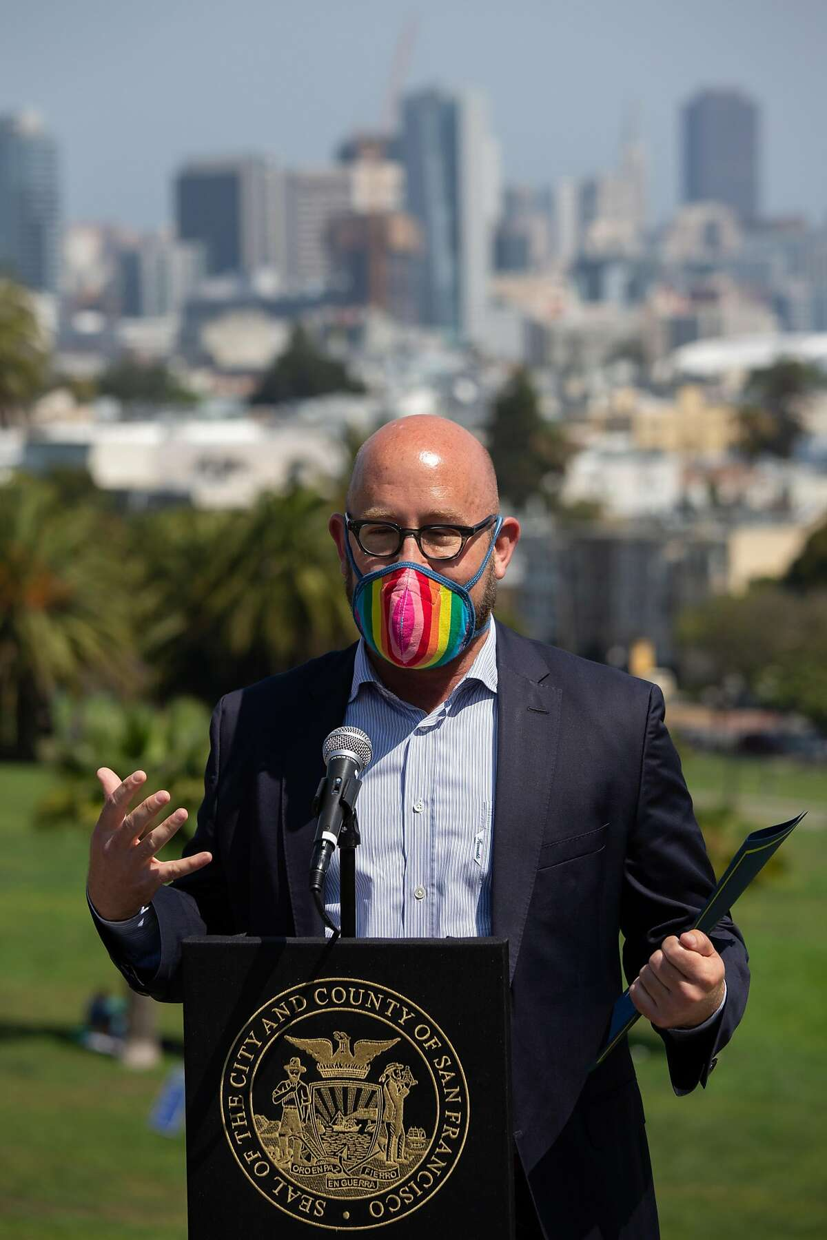 District 8 Supervisor Rafael Mandelman spoke at a press conference at Dolores Park in San Francisco, Calif. on Sept. 4, 2020. The City parterned with the Sisters of Perpetual indulgence to distribute 1000 masks to prevent the spread of Covid 19 over Labor Day Weekend.