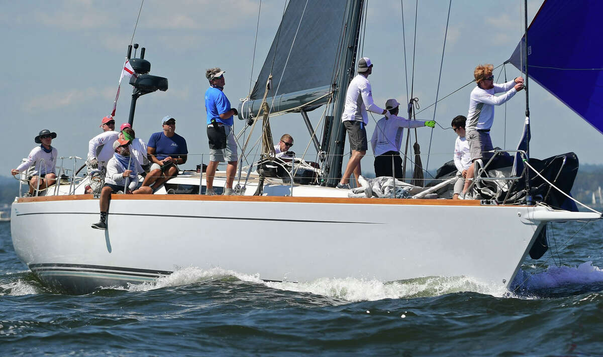 Boats including Jules of the Belle Haven YC in Greenwich set out for the 89th running of Stamford Yacht Club's Vineyard Race Friday, September 4, 2020, in Stamford, Conn. The Vineyard Race is the premier distance race through Long Island Sound.