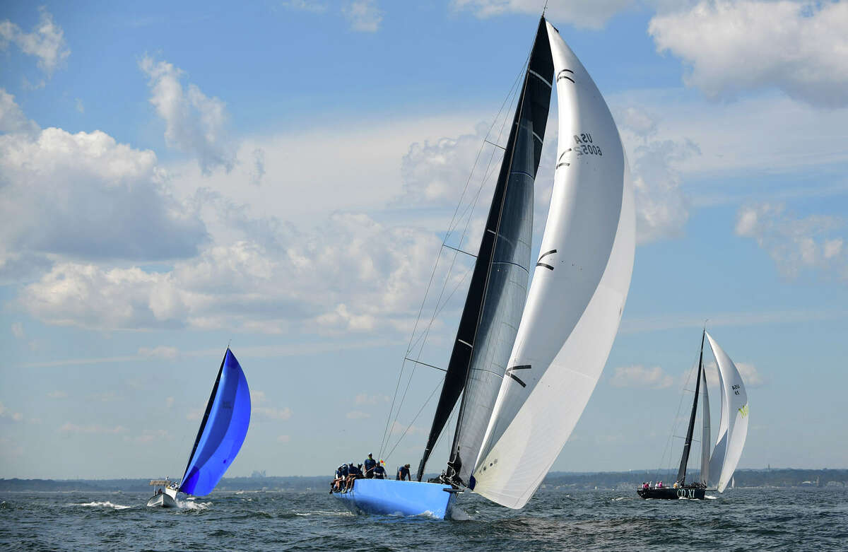 Boats set out for the 89th running of Stamford Yacht Club's Vineyard Race Friday, September 4, 2020, in Stamford, Conn. The Vineyard Race is the premier distance race through Long Island Sound.