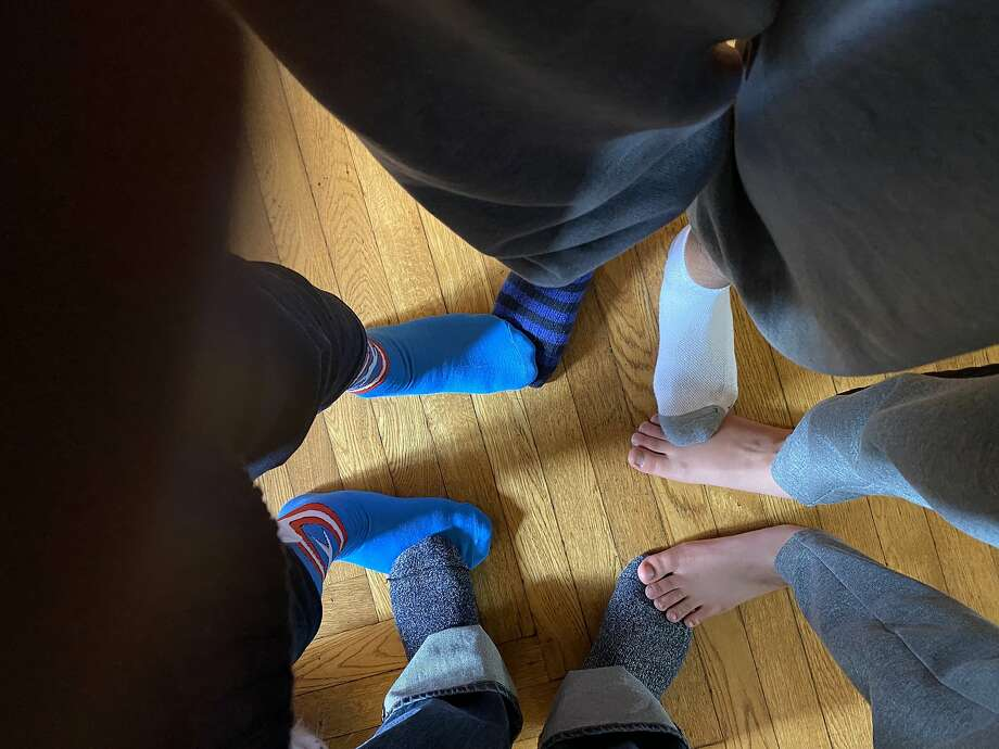 The Fisher-Paulsons are a family of mismatched socks. Photo: Kevin Fisher-Paulson