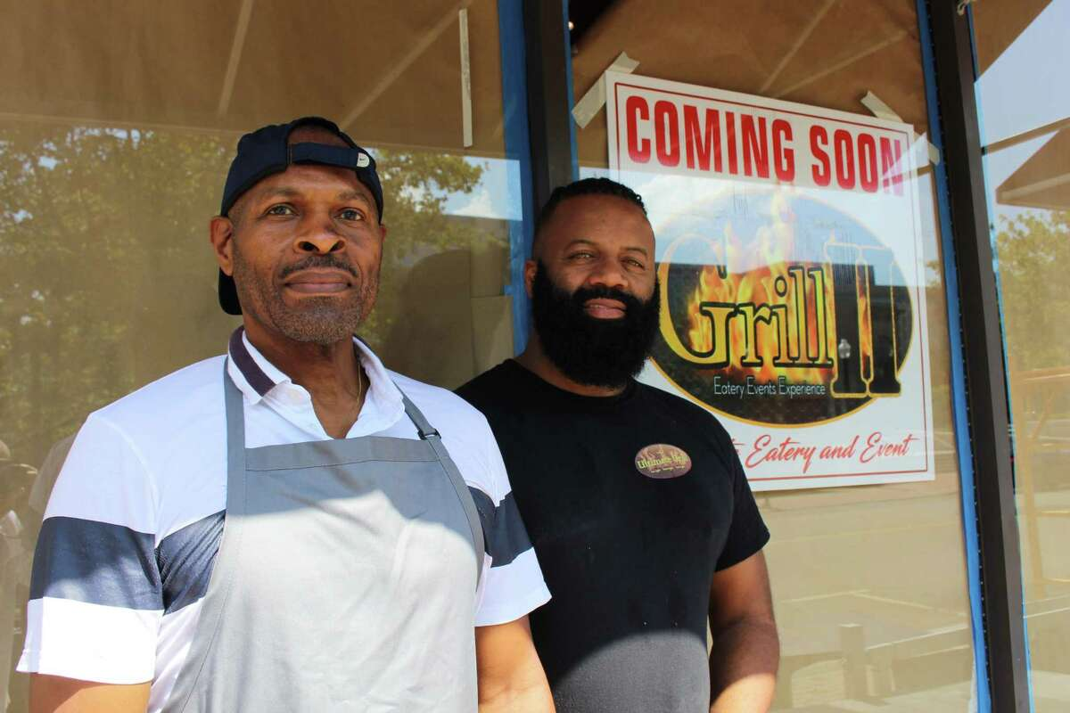 Left to right, Denzil Richards and Paul Brown, operators of Grill II in downtown Bridgeport.
