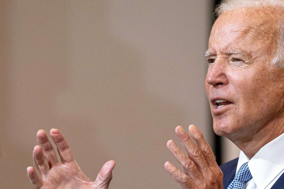 Joe Biden, the Democratic presidential nominee, speaks at Mill 19 in Pittsburgh on Monday, Aug. 31, 2020. Biden used his speech to describe how President Donald Trump has destabilized every aspect of American life. (Amr Alfiky/The New York Times)