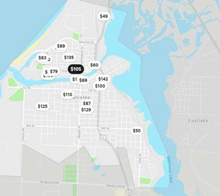 This previous screenshot from thepopular Airbnb website shows some of the results for short-term rentals in the Manistee area earlier this year. (Airbnb site screenshot)