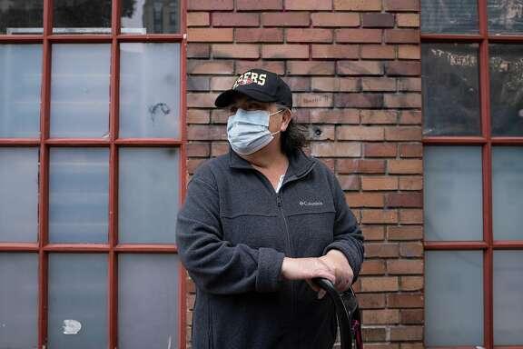 Rosa Alvarado, 58, poses for a photo on Ellis Street in San Francisco, Calif., on Monday, August 10, 2020.
