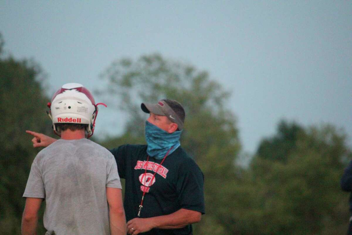 Big Rapids coach Mike Selzer makes a point to a player during a practice on Aug. 14. (Pioneer photo/John Raffel)