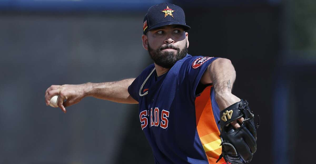 Houston Astros pitcher Jose Urquidy (65) pitched a live batting practice during the Houston Astros spring training workouts at the Fitteam Ballpark of The Palm Beaches, in West Palm Beach , Tuesday, Feb. 18, 2020.