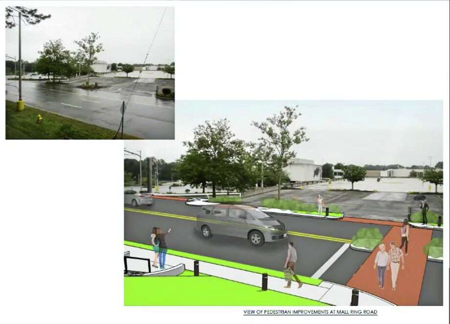 A drawing of an upgraded crosswalk between the east parking deck and the proposed site of the Residences at Main. Photo: Zoom Screen Capture