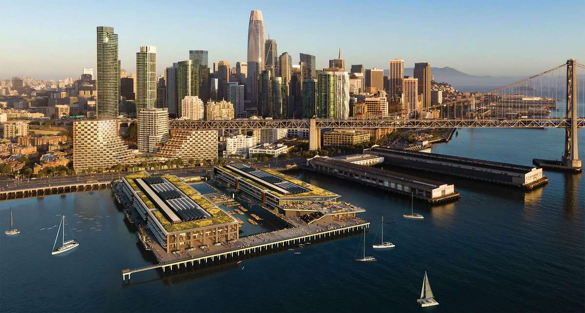 A rendering by Strada TCC Partners illustrating a proposal of the waterfront with a full re-build of Piers 30-32 for commercial, maritime, and recreation uses and new residential buildings on Seawall Lot 330.