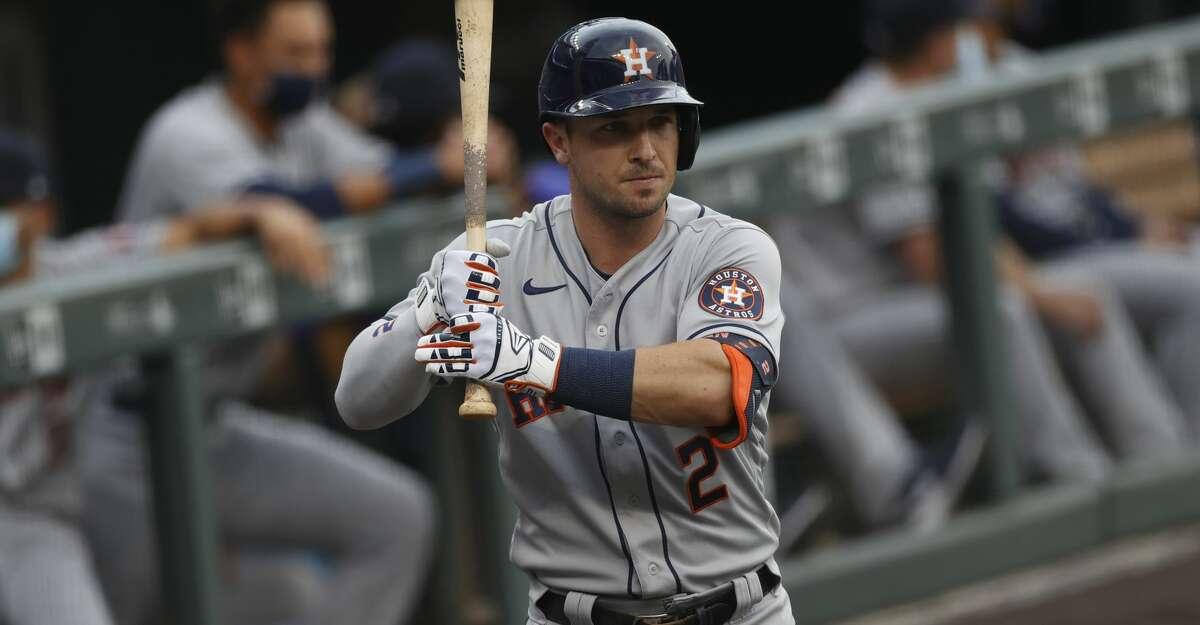 Houston Astros third baseman Alex Bregman (2) in the first inning of a baseball game Wednesday, Aug. 19, 2020, in Denver. (AP Photo/David Zalubowski)