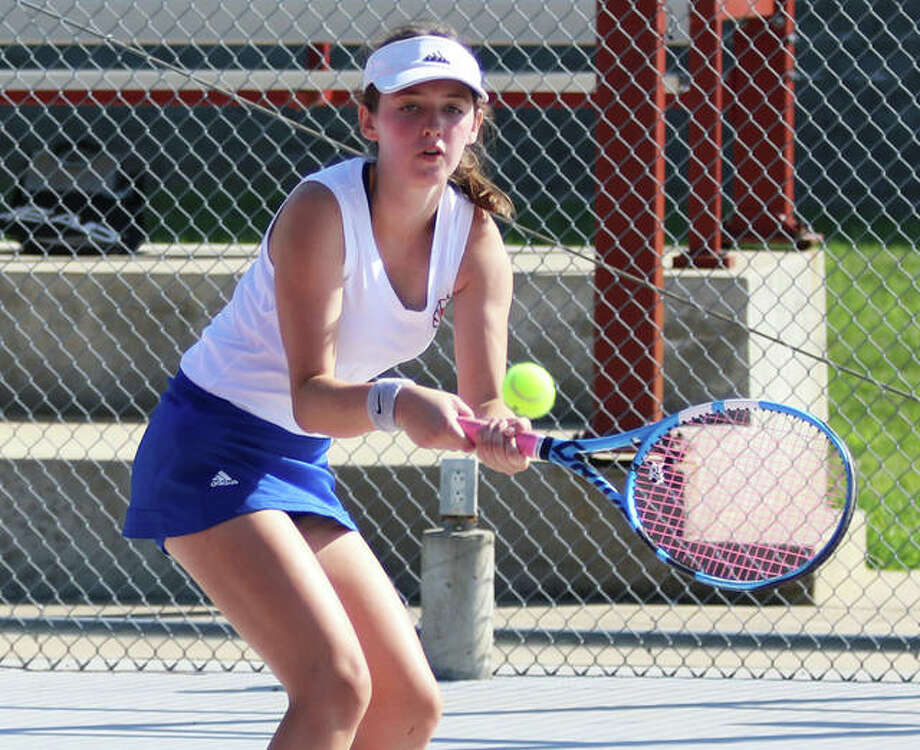 Roxana's Lindsey Ratliff grabbed a 6-2, 3-6, 10-8 singles victory over O'Fallon's Brooke Riggan Friday in first-round action of the Heather Bradshaw Tournament. Tourney play continues Saturday at sites around the Metro East. Photo: Telegraph Photo