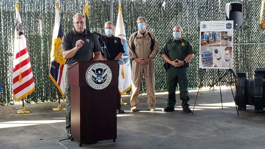 CBP Commissioner Mark Morgan talks enforcement actions reported in Laredo during the month of August. Photo: César G. Rodriguez /Laredo Morning Times