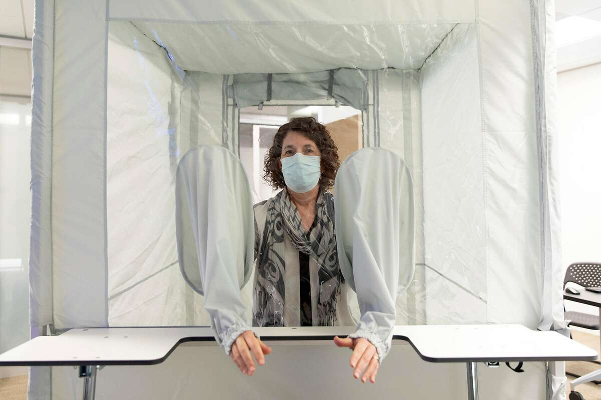 Susan Buchbinder, Director of Bridge HIV, is working with her team on a COVID19 vaccine trial and shows off their newly assembled tent that will allow her team to safely receive nasal swabs from trial participants in San Francisco, Calif., Thursday, Sept. 3, 2020.