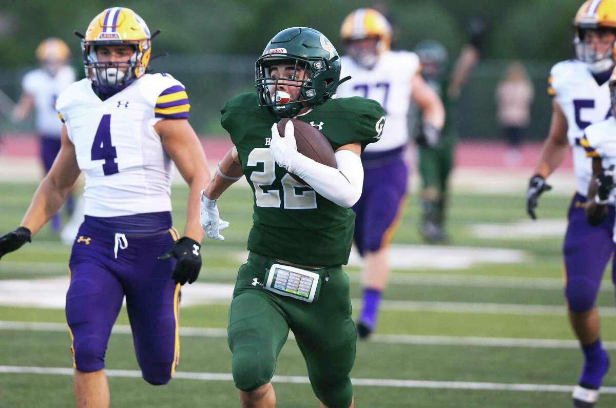 Hawk tailback Ryan Rivali breaks free for a long gain in the first quarter as Canyon Lake hosts La Grange at Canyon Lake High School stadium on Sept. 4, 2020.