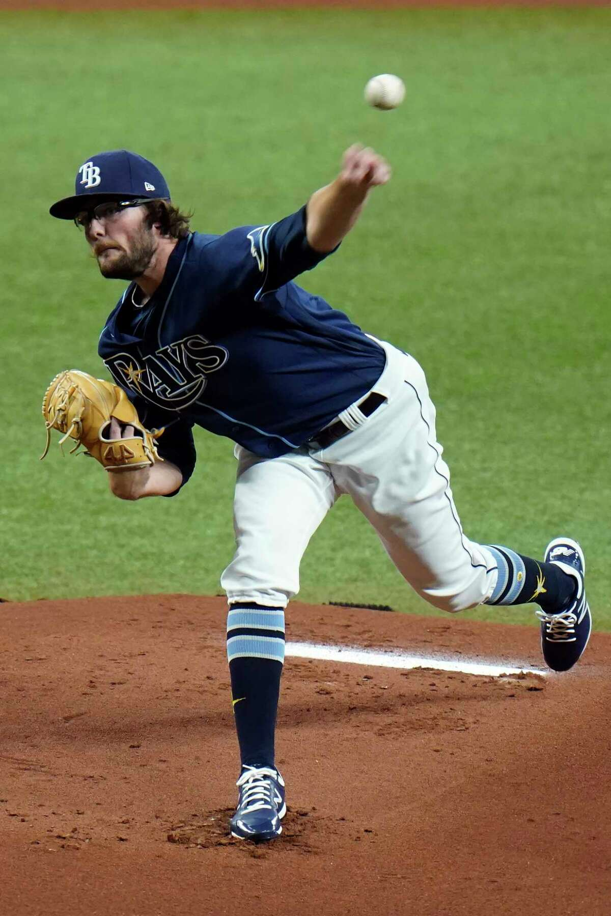 Tampa Bay Rays' Josh Fleming pitches to the Miami Marlins during the first inning of a baseball game Friday, Sept. 4, 2020, in St. Petersburg, Fla. (AP Photo/Chris O'Meara)