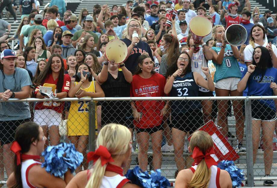 Lumberton's fans cheer the Raiders as they face Coldspring - Oakhurst at home Friday. Photo taken Friday, September 4, 2020 Kim Brent/The Enterprise Photo: Kim Brent / The Enterprise / BEN