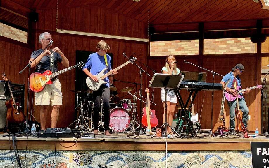 "The DaveYonkerBand performs ""Good Girl"" by Carrie Underwood during a concert Aug. 23 at Brooks Park in Newaygo. (Pioneer photo/Julie Norwood)"