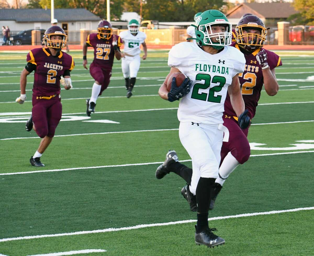 Floydada's Matthew Morales eyes the open field in front of him after racing past a slew of Kermit defenders on his way to a 50-yard touchdown run during their non-district high school football game on Friday, Sept. 4, 2020 at Tyer Stadium in Floydada.