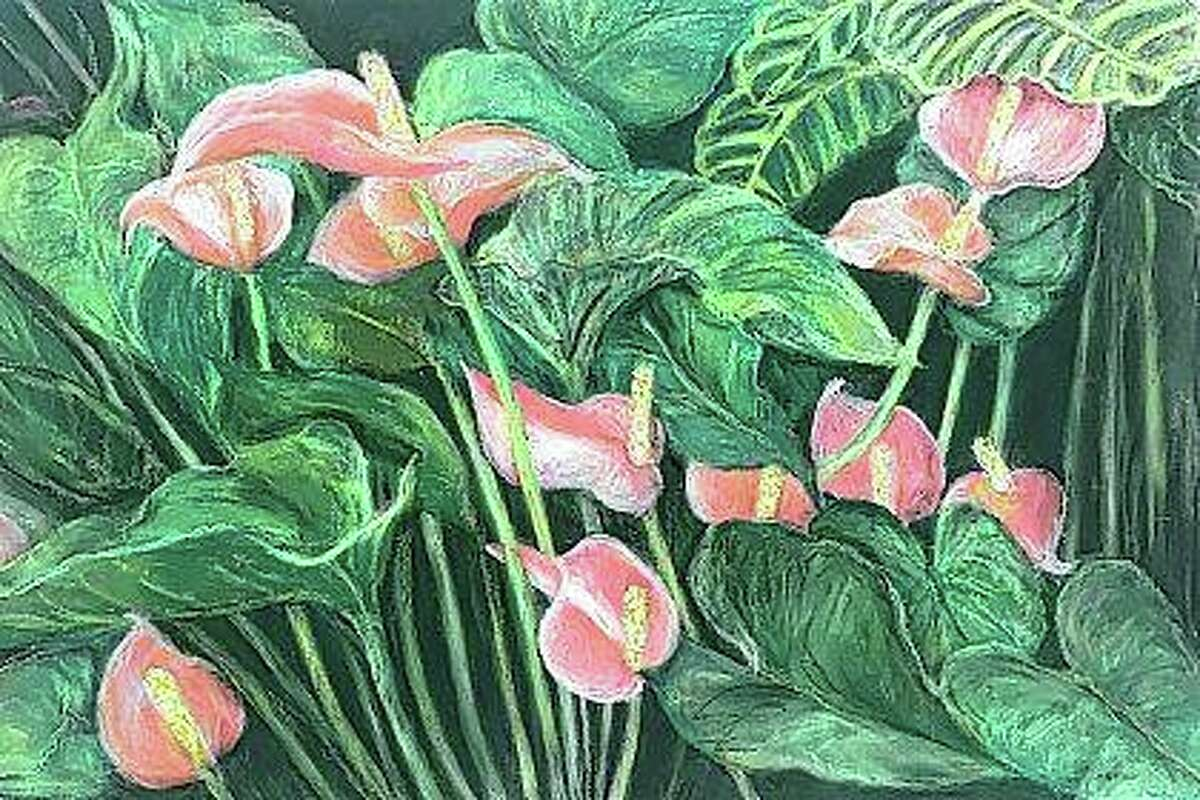 Rosemary Buffington works primarily in pastels, with many of her pieces - like this pink anthurium - focused on florals.
