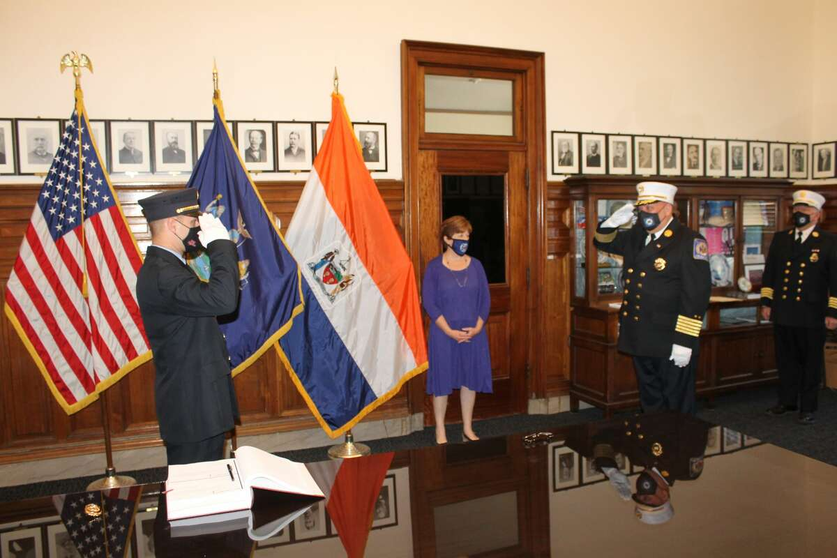 Albany Mayor Kathy Sheehan and Fire Chief Joseph Gregory on Friday conducted a brief promotion ceremony for two Albany Fire Department firefighters.Firefighters Glenn Eggelhoefer and James Gaudet were promoted to lieutenant.