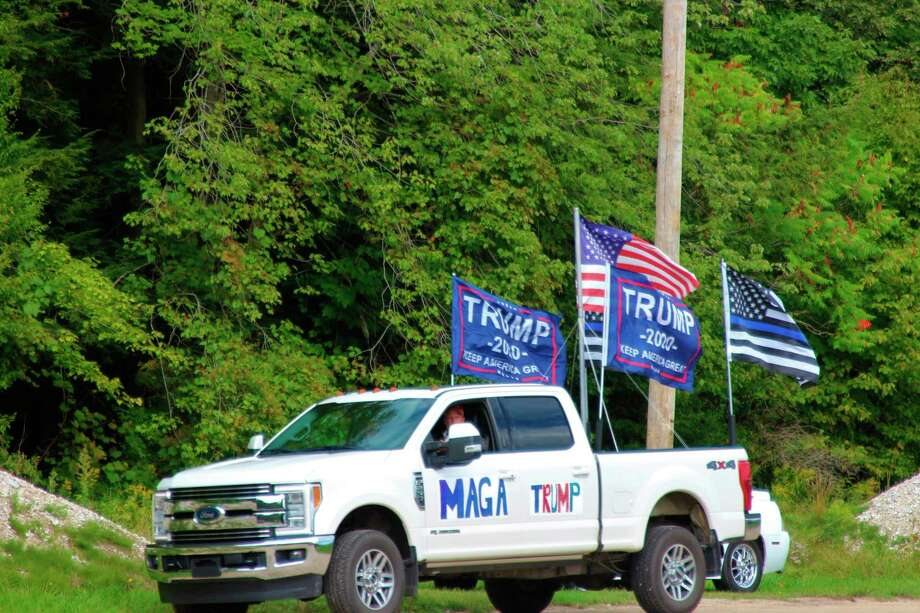 The Benzie County GOP parade to show support for Trump and law enforcement ended in Memorial Park in Benzonia. (Photo/Colin Merry)