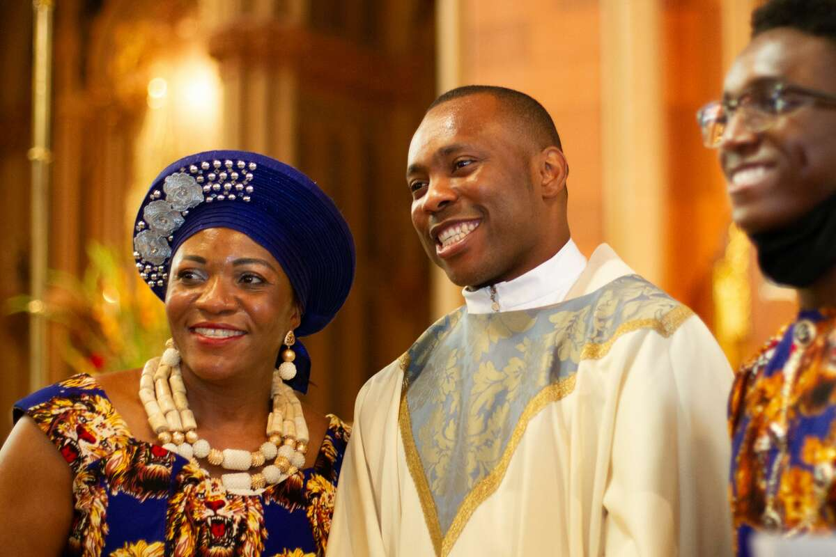 Charles Onyeneke was ordained into the priesthood during a ceremony Saturday at Albany's Cathedral of the Immaculate Conception.