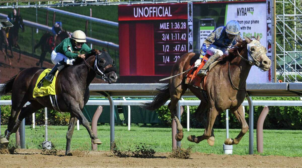 Mystic Guide and jockey Jose Ortiz completed a rally from last in the field of six to win the Grade II Jim Dandy on Saturday, Sept. 5, 2020 at Saratoga Race Course in Saratoga Springs, N.Y. (Mike Kane/Special to the Times Union)
