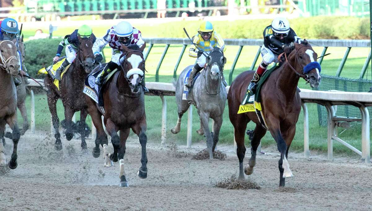 Authentic with jockey John Velazquez wins the 146th running of the Kentucky Derby at Churchill Downs Race Course Saturday Sept 5, 2020 in Louisville, KY. Photo by Skip Dickstein/Special to the Times Union
