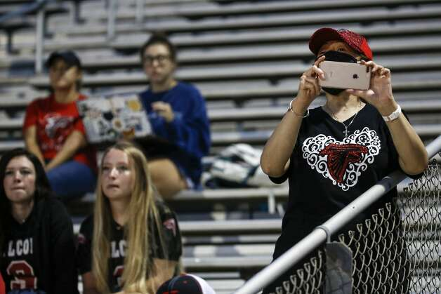 Hargrave watch the game against Needville at Blue Jay Stadium on Friday, Sept. 4, 2020 in Needville. The UIL has sent out warnings to schools to keep stadiums within 50 percent capacity, for spectators to wear masks and other coronavirus precautions. Photo: Brett Coomer/Staff Photographer / © 2020 Houston Chronicle