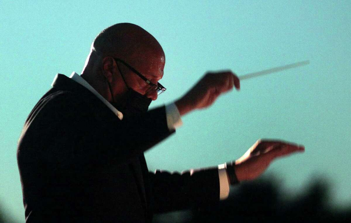 Guest Conductor Chelsea Tipton II leads the Greater Bridgeport Symphony during its