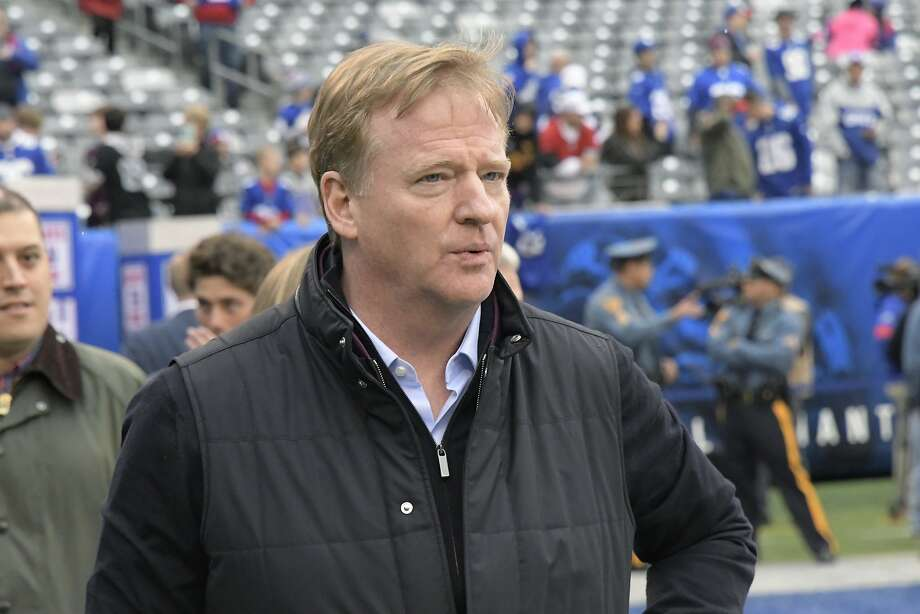 """FILE - In this Oct. 20, 2019, file photo, NFL Commissioner Roger Goodell walks on the field before an NFL football game between the New York Giants and the Arizona Cardinals in East Rutherford, N.J. NFL Goodell reiterated the league's support for players fighting for racial justice and protesting police violence. Citing a police officer shooting Jacob Blake in the back on Aug. 23 in Kenosha, Wisconsin, Goodell said the incident has """"brought forth more feelings of anger, frustration, anguish, fear for many of us in the NFL family."""" The investigation into the police shooting of Blake, who is Black, is ongoing. (AP Photo/Bill Kostroun, File) Photo: Bill Kostroun, Associated Press"""