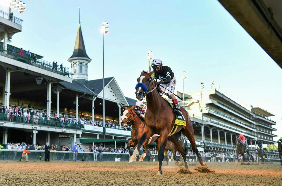Authentic, right with jockey John Velazquez wins the 146th running of the Kentucky Derby by beating favorite Tiz the Law with jockey Manny Franco at Churchill Downs Race Course Saturday Sept 5, 2020 in Louisville, KY. Photo by Skip Dickstein/Special to the Times Union