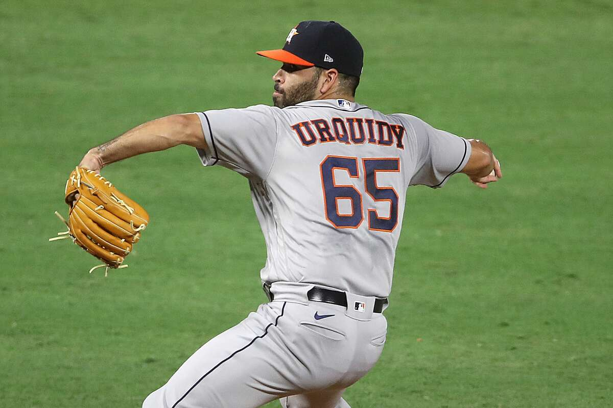 ANAHEIM, CALIFORNIA - SEPTEMBER 05: Jose Urquidy #65 of the Houston Astros pitches during the first inning of the second game of a double header against the Los Angeles Angels at Angel Stadium of Anaheim on September 05, 2020 in Anaheim, California. (Photo by Sean M. Haffey/Getty Images)
