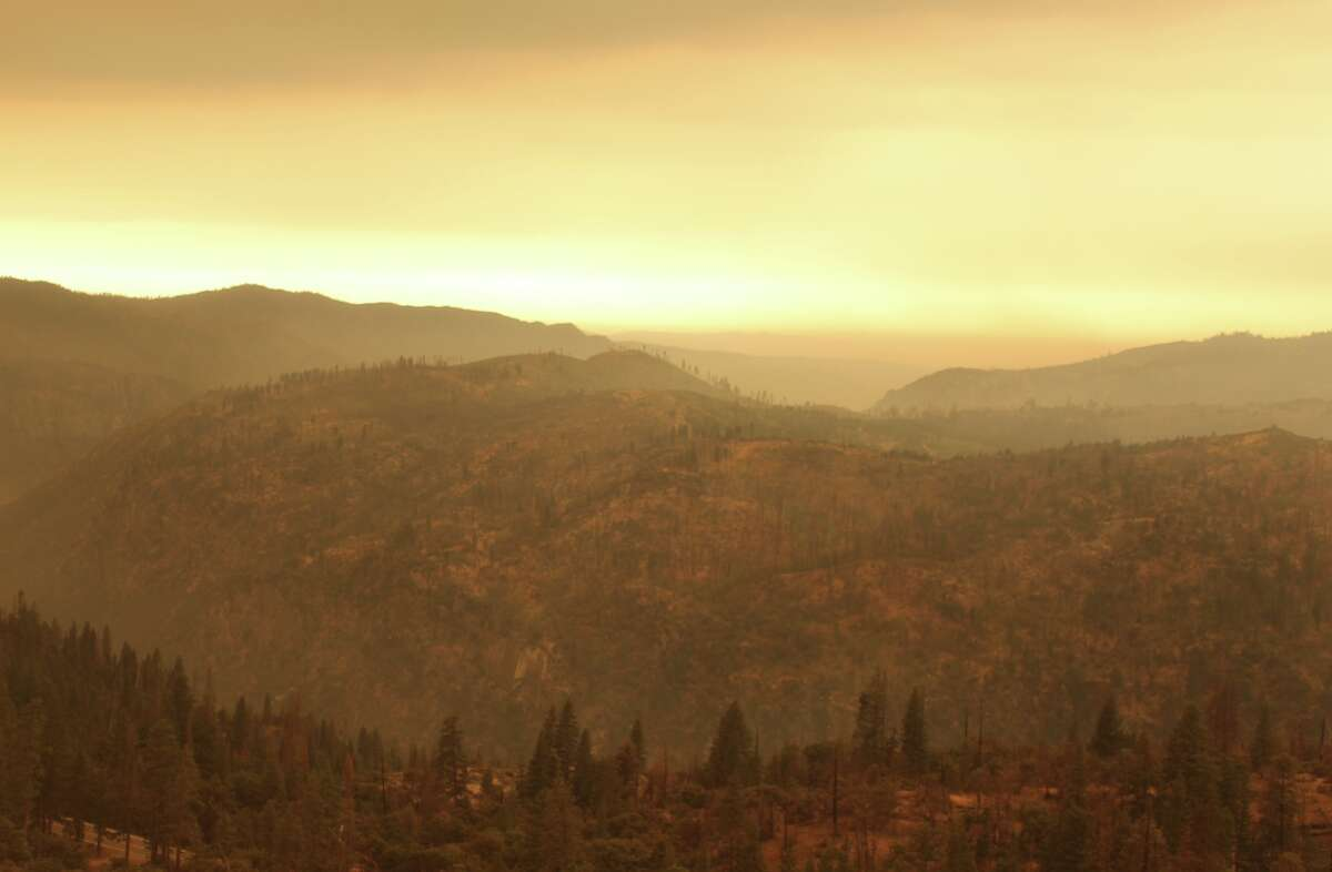 The Turtleback Dome webcam at Yosemite National Park on Sept. 6, 2020, shows yellow skies due to the Creek Fire.