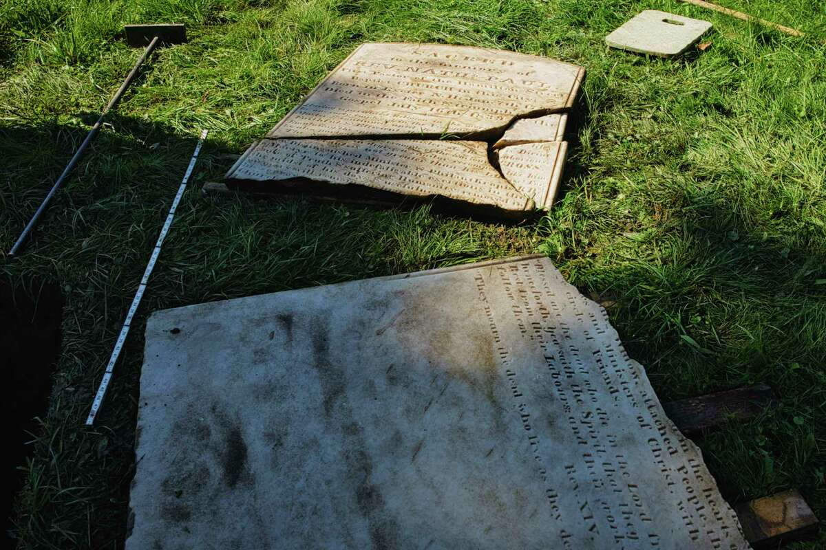 A view of the broken gravestone of Rev. Nathaniel Paul at the Albany Rural Cemetery on Sunday, Sept. 6, 2020, in Menands, N.Y. Paul died in 1835, and Paula Lemire, historian for the Friends of Albany Rural Cemetery, found the grave. (Paul Buckowski/Times Union)