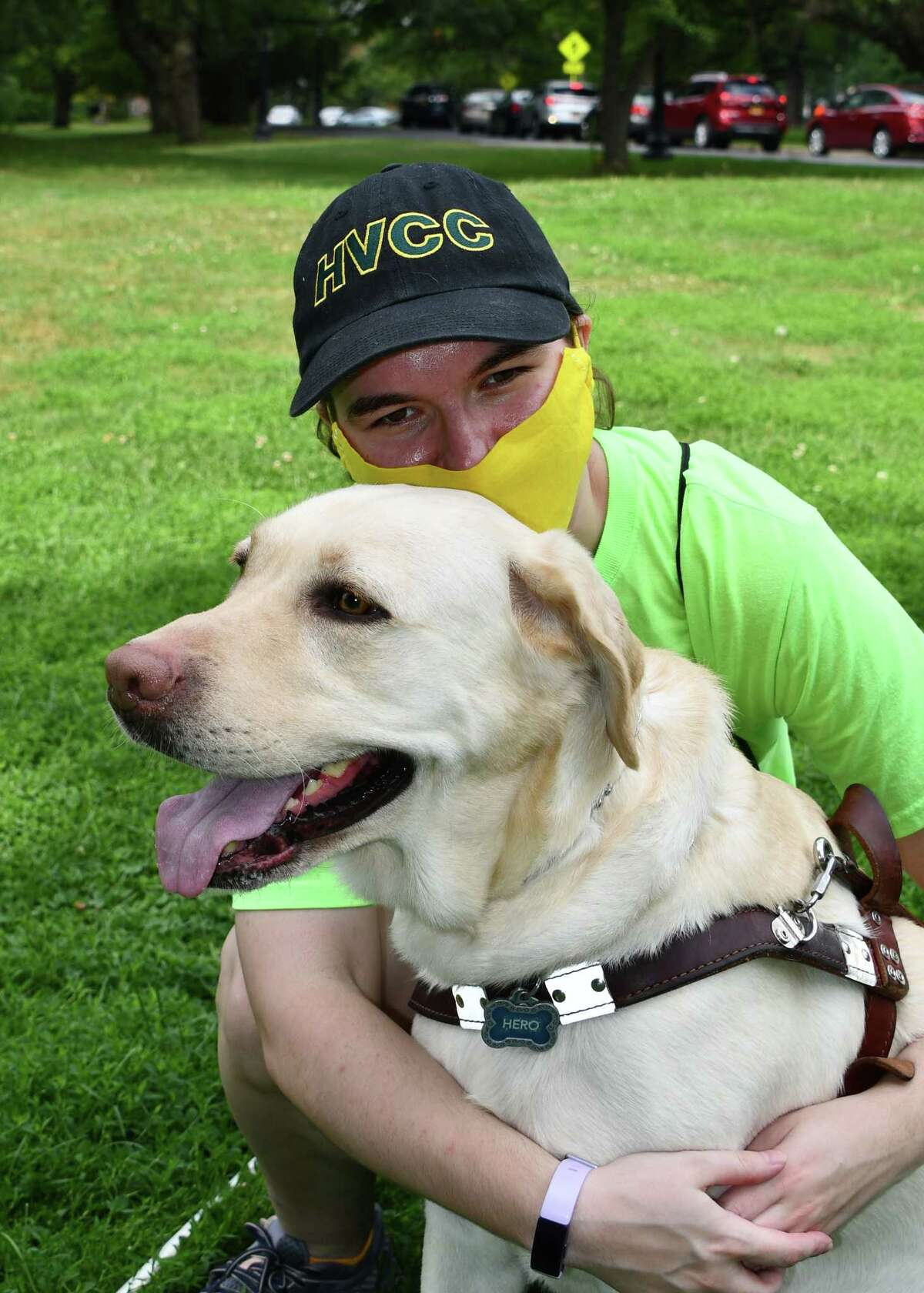 Megan Hale and her guide dog Hero in Albany's Washington Park on Aug. 25, 2020. (Joyce Bassett / Special to the Times Union)