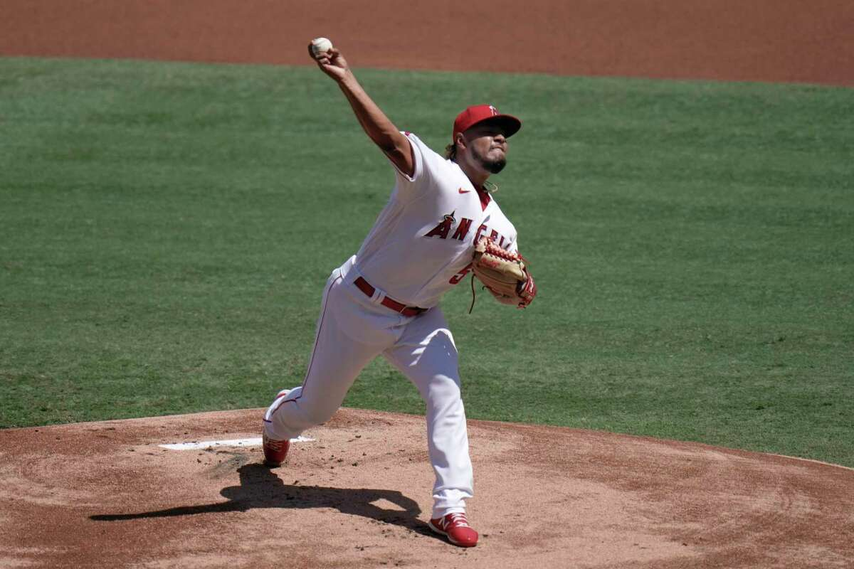Los Angeles Angels starting pitcher Jaime Barria throws against the Houston Astros during the first inning of a baseball game, Sunday, Sept. 6, 2020, in Anaheim, Calif. (AP Photo/Jae C. Hong)