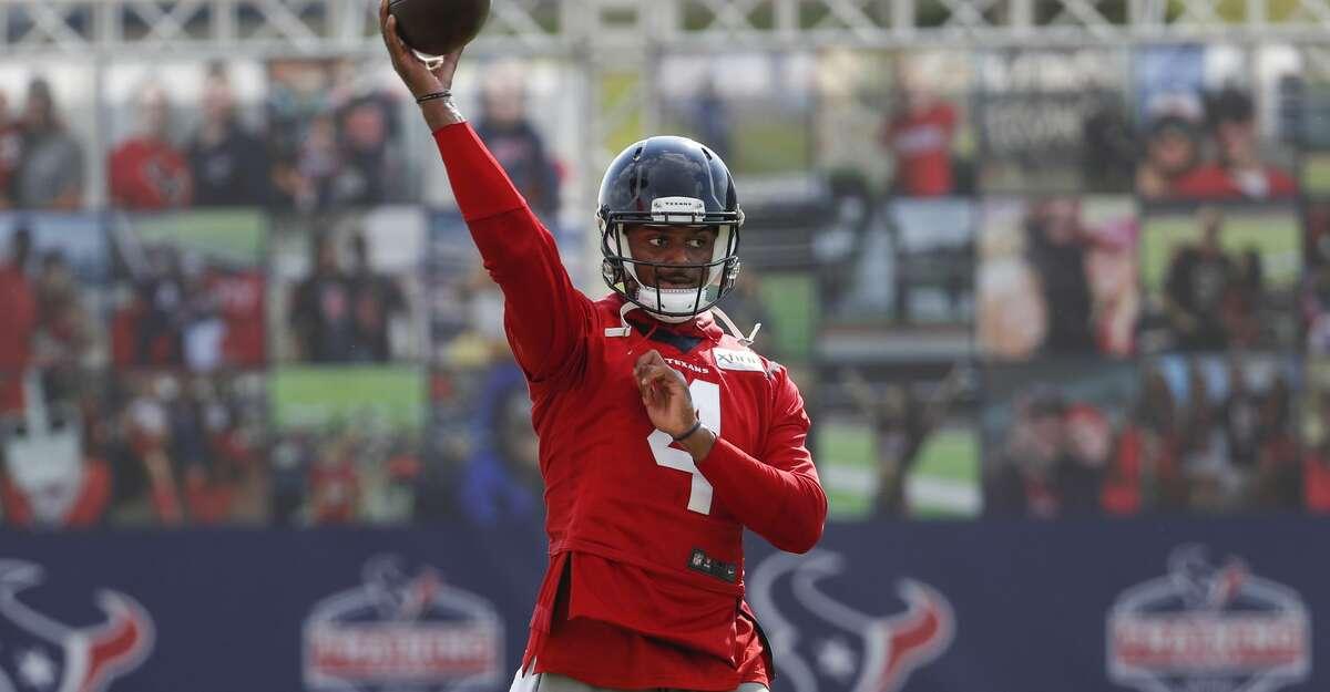 Houston Texans quarterback Deshaun Watson throws the ball during an NFL training camp football practice Friday, Aug. 21, 2020, in Houston.