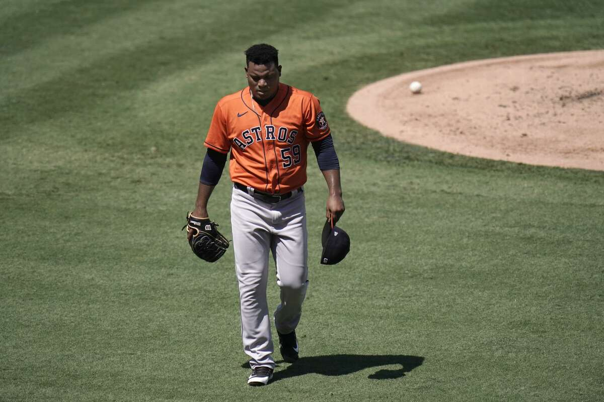 Houston Astros starting pitcher Framber Valdez leaves the mound after the second inning of a baseball game against the Los Angeles Angels, Sunday, Sept. 6, 2020, in Anaheim, Calif. (AP Photo/Jae C. Hong)
