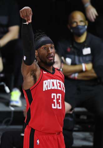 LAKE BUENA VISTA, FLORIDA - SEPTEMBER 06: Robert Covington #33 of the Houston Rockets reacts during the second quarter against the Los Angeles Lakers in Game Two of the Western Conference Second Round during the 2020 NBA Playoffs at AdventHealth Arena at the ESPN Wide World Of Sports Complex on September 06, 2020 in Lake Buena Vista, Florida. NOTE TO USER: User expressly acknowledges and agrees that, by downloading and or using this photograph, User is consenting to the terms and conditions of the Getty Images License Agreement. (Photo by Douglas P. DeFelice/Getty Images) Photo: Douglas P. DeFelice/Getty Images / 2020 Getty Images