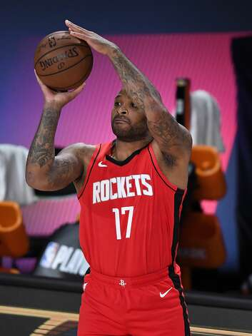 LAKE BUENA VISTA, FLORIDA - SEPTEMBER 06: P.J. Tucker #17 of the Houston Rockets shoots the ball during the third quarter against the Los Angeles Lakers in Game Two of the Western Conference Second Round during the 2020 NBA Playoffs at AdventHealth Arena at the ESPN Wide World Of Sports Complex on September 06, 2020 in Lake Buena Vista, Florida. NOTE TO USER: User expressly acknowledges and agrees that, by downloading and or using this photograph, User is consenting to the terms and conditions of the Getty Images License Agreement. (Photo by Douglas P. DeFelice/Getty Images) Photo: Douglas P. DeFelice/Getty Images / 2020 Getty Images