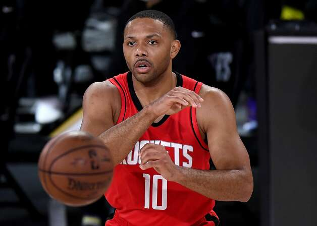 LAKE BUENA VISTA, FLORIDA - SEPTEMBER 06: Eric Gordon #10 of the Houston Rockets passes the ball during the third quarter against the Los Angeles Lakers in Game Two of the Western Conference Second Round during the 2020 NBA Playoffs at AdventHealth Arena at the ESPN Wide World Of Sports Complex on September 06, 2020 in Lake Buena Vista, Florida. NOTE TO USER: User expressly acknowledges and agrees that, by downloading and or using this photograph, User is consenting to the terms and conditions of the Getty Images License Agreement. (Photo by Douglas P. DeFelice/Getty Images) Photo: Douglas P. DeFelice/Getty Images / 2020 Getty Images