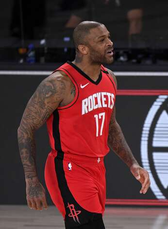 LAKE BUENA VISTA, FLORIDA - SEPTEMBER 06: P.J. Tucker #17 of the Houston Rockets reacts during the third quarter against the Los Angeles Lakers in Game Two of the Western Conference Second Round during the 2020 NBA Playoffs at AdventHealth Arena at the ESPN Wide World Of Sports Complex on September 06, 2020 in Lake Buena Vista, Florida. NOTE TO USER: User expressly acknowledges and agrees that, by downloading and or using this photograph, User is consenting to the terms and conditions of the Getty Images License Agreement. (Photo by Douglas P. DeFelice/Getty Images) Photo: Douglas P. DeFelice/Getty Images / 2020 Getty Images