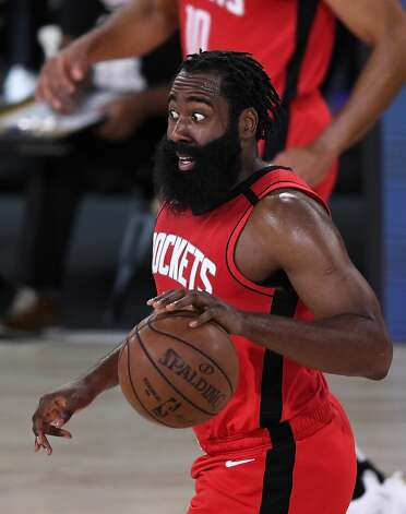 LAKE BUENA VISTA, FLORIDA - SEPTEMBER 06: James Harden #13 of the Houston Rockets reacts during the third quarter against the Los Angeles Lakers in Game Two of the Western Conference Second Round during the 2020 NBA Playoffs at AdventHealth Arena at the ESPN Wide World Of Sports Complex on September 06, 2020 in Lake Buena Vista, Florida. NOTE TO USER: User expressly acknowledges and agrees that, by downloading and or using this photograph, User is consenting to the terms and conditions of the Getty Images License Agreement. (Photo by Douglas P. DeFelice/Getty Images) Photo: Douglas P. DeFelice/Getty Images / 2020 Getty Images