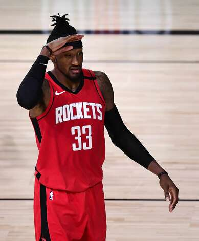 LAKE BUENA VISTA, FLORIDA - SEPTEMBER 06: Robert Covington #33 of the Houston Rockets reacts during the third quarter against the Los Angeles Lakers in Game Two of the Western Conference Second Round during the 2020 NBA Playoffs at AdventHealth Arena at the ESPN Wide World Of Sports Complex on September 06, 2020 in Lake Buena Vista, Florida. NOTE TO USER: User expressly acknowledges and agrees that, by downloading and or using this photograph, User is consenting to the terms and conditions of the Getty Images License Agreement. (Photo by Douglas P. DeFelice/Getty Images) Photo: Douglas P. DeFelice/Getty Images / 2020 Getty Images
