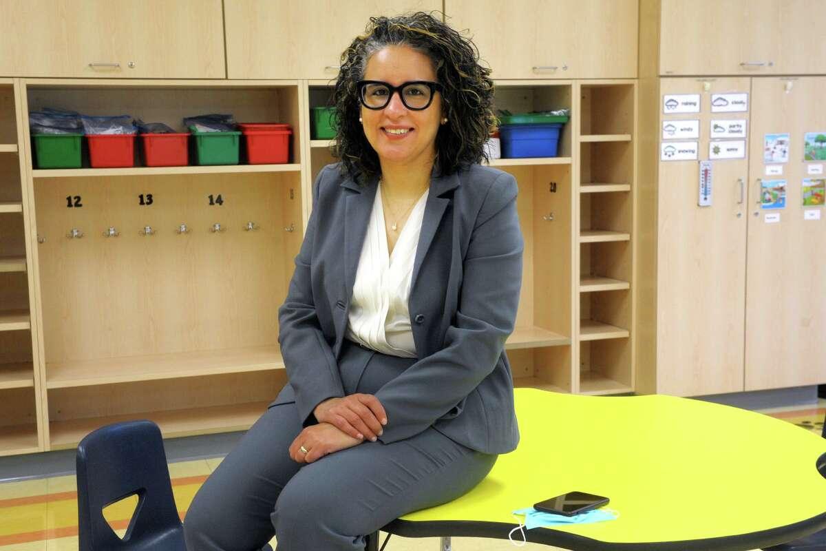 Norwalk Schools Superintendent Alexandra Estrella in a classroom at Naramake School.