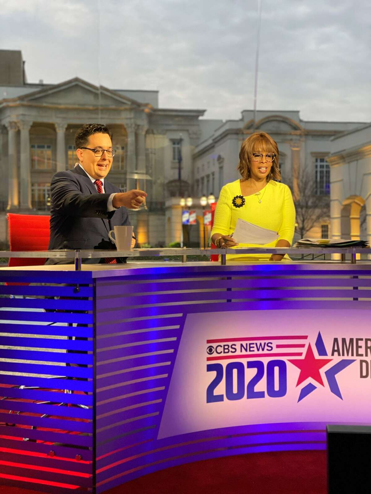Ed O'Keefe and Gayle King during a CBS News program.