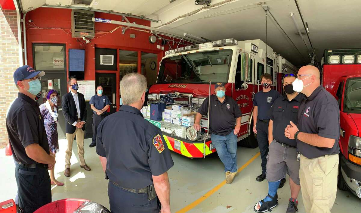 U.S. Reps. Rosa DeLauro, D-3, and Jim Himes, D-4, visited Echo Hose Fire House Tuesday, Sept. 1, to offer praise to city firefighters and emergency medical services personnel for their efforts in the aftermath of Tropical Storm Isaias.