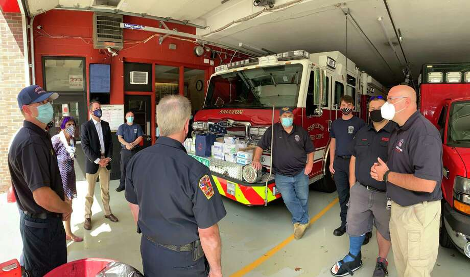U.S. Reps. Rosa DeLauro, D-3, and Jim Himes, D-4, visited Echo Hose Fire House Tuesday, Sept. 1, to offer praise to city firefighters and emergency medical services personnel for their efforts in the aftermath of Tropical Storm Isaias. Photo: Jimmy Tickey / Conributed Photo / Connecticut Post