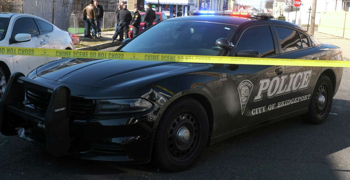 File photo of a Bridgeport police cruiser at a crime scene in Bridgeport, Conn., taken on Feb. 14, 2020.