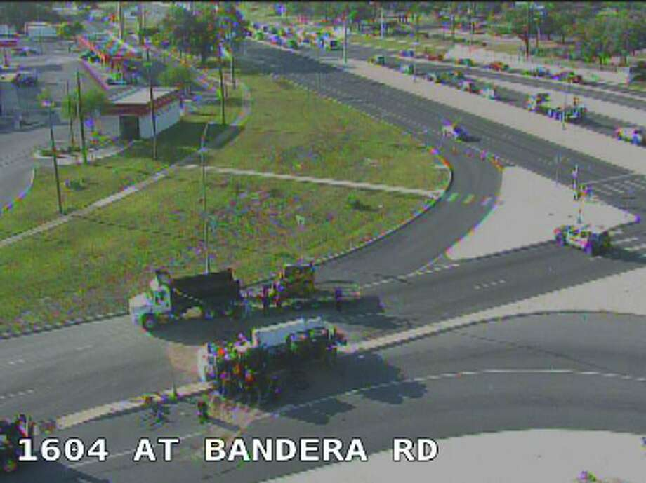 A cement truck that has rolled over is causing traffic delays on Loop 1604 eastbound and Bandera Road, according to the Texas Department of Transportation. Photo: TxDOT